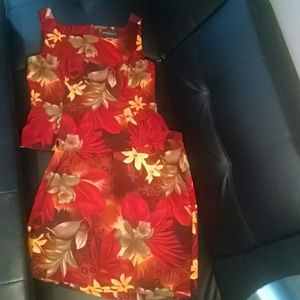 Beautiful red floral skirt ensemble. Size 14